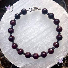 Garnet Bracelet With Silver Beads